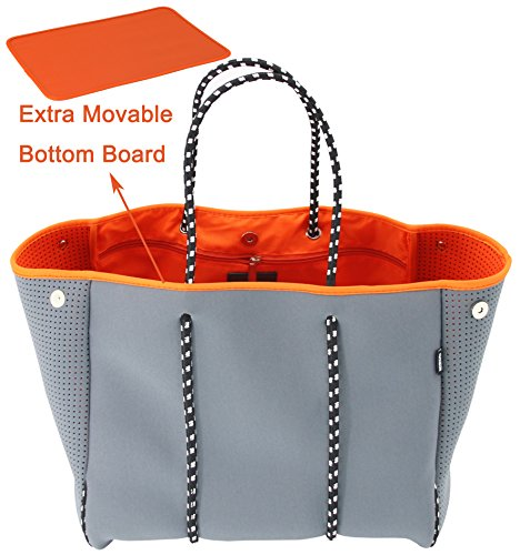 QOGiR Neoprene Multipurpose Beach Bag Tote with Inner Zipper Pocket and Movable Board (Grey, Large)