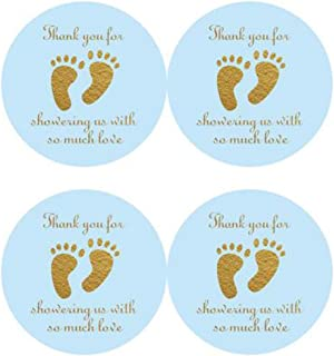 """2"""" Round 50 Pack Blue Baby Shower Stickers Little Feet Stickers Baby Shower Party Sticker Labels Candy Stickers for Baby S..."""