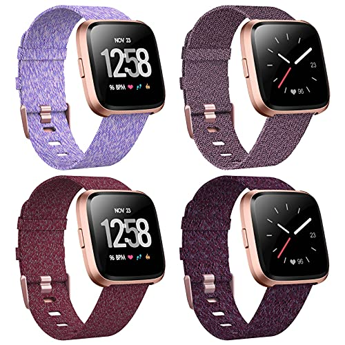 VASG 4-Pack Bands Compatible with Fitbit Versa/Versa 2/Versa Lite Edition, Soft Woven Fabric Breathable Accessories Strap Replacement Wristband Women Men Compatible Versa Smart Watch