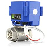 U.S. Solid 1/2' Válvula Motorizada 220V AC (85V-265V AC), 2 Vias acero inoxidable Válvula de bola electrica, 2 Cables, Regreso Automatico, Normalmente Abierta