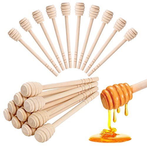 Honey Dippers 6 inch, 20PCS Premium Wooden Honey Stirrer for Honey Jar Dispense Drizzle Honey and Wedding Party Gift