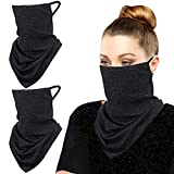 MoKo Scarf Mask Bandana with Ear Loops 3 Pack, Neck Gaiter Balaclava with Filter Pocket UV Sun Protection Face Mask for Dust Wind Motorcycle Cycle Bandana Headband for Women Men, Black