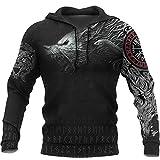 YCYR Viking Thors Hammer Sweatshirt, Nordische Mythologie Wolf Streetwear Casual Hoody Hoodie, 3D Allover Bedrucktes Unisex Langarm Pullover Sweatshirt,Wolf,XL