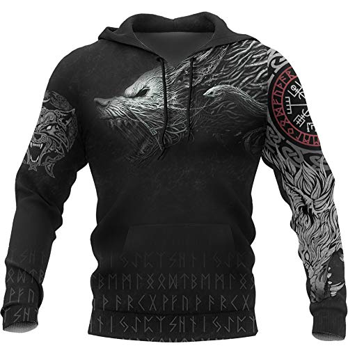 YCYR Viking Thors Hammer Sweatshirt, Nordische Mythologie Wolf Streetwear Casual Hoody Hoodie, 3D Allover Bedrucktes Unisex Langarm Pullover Sweatshirt,Wolf,L