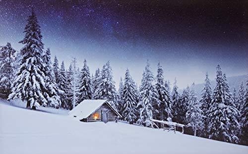 JANDEI - Dekoratives Bild mit LEDs (verschiedenen Bilder) (Berghütte am Schnee 50x40)