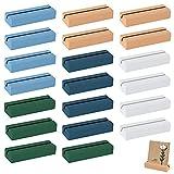 20 tarjetas coloridas con base de madera, tarjeta de lugar, imagen, soporte para números de mesa, tarjetas de plaza de acrílico para bodas, nombres, partes, soporte de notas (5 colores x 4)