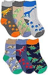 6. Jefferies Socks Boys Dinosaur Cotton Crew Socks (6 Pairs)
