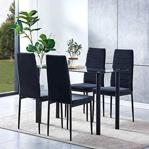 Modern 4 Black Glass Dining Room Table with 4 Velvet Chairs Set Kitchen Chairs with Comfy Upholstered Padded Seat Metal Legs for Restaurant