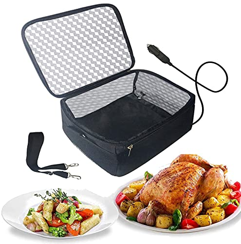 Portable Oven 12V Personal Food Warmer for Prepared Meals Lunch Warmer Reheating at work For Driving, Food Warmer with Lunch Bag for Car 12V Car Oven Portable (Black)