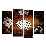 islandburner Bild Bilder auf Leinwand 4 teilig Poker