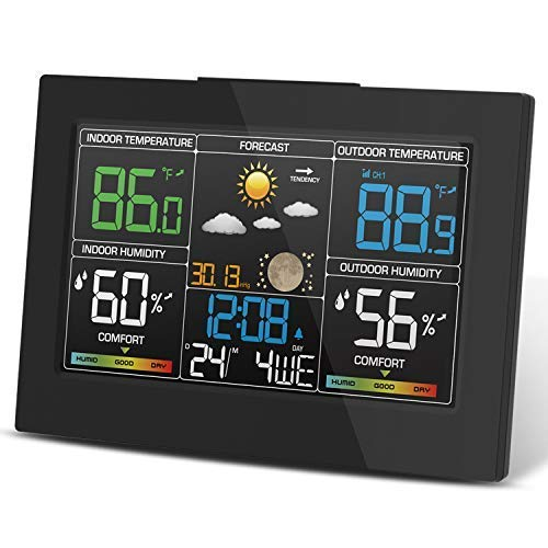 Geevon Weather Station Wireless Indoor Outdoor Thermometer, Color LCD Display Digital Forecast Station with Temperature Alert, Comfort Level, Barometer, Alarm Clock, Easy to Set, Table-top Stand