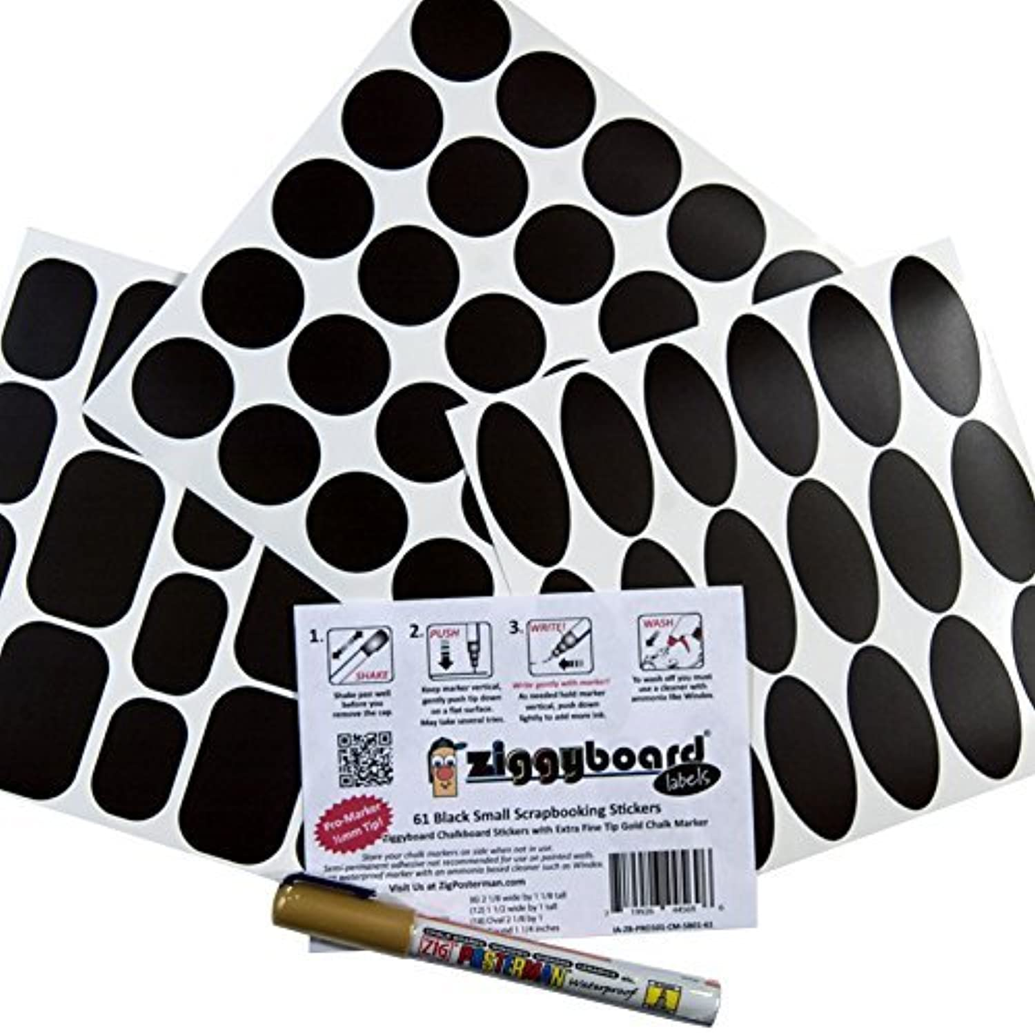 Ziggyboard Chalkboard Labels 61 Assorted Small with Extra Fine Tip Gold Chalk Marker for Crafting, Scrapbooking or Decorating by Ziggyboard B01KB845D8     | Vorzügliche Verarbeitung