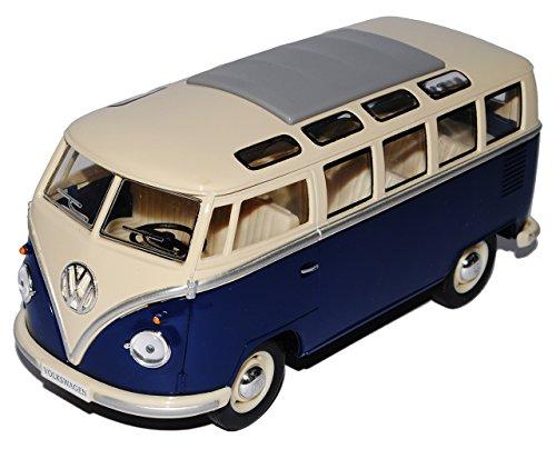 Kinsmart Volkwagen T1 Dunkel Blau Weiss Samba Bully Bus 1950-1967 1/24 Modellcarsonline Modell Auto mit individiuellem Wunschkennzeichen