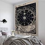 KHKJ Tarot Card Tapiz Colgante de Pared Astrología Adivinación Colcha de Playa Tapete A5 95X73CM