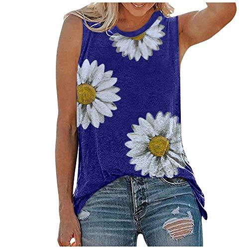 YHAIOGS Women'S Tank Tops Oversized T Shirts For Women Peplum Blouses For Women Women'S Tanks & Camis Pack Women Summer Tops O-neck Daisy Print Sleeveless Tank T-Shirts Graphic Blouse