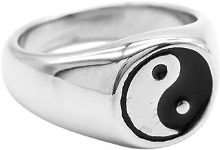 US 5 Bangle009/Svendita uomo donna Yin Yang Sign Band Fashion titanio acciaio anello amante coppia gioielli Silver 1
