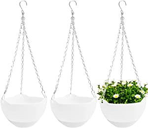 3 Pcs 8 inch Hanging Planter Pots,Self-Watering Round Hanging Basket with Water Tray and Metal Chain,Succulent Flower Plant Pot Container for Indoor Outdoor Garden Balcony Wall Decor,White