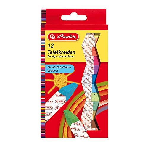 Herlitz, gessetti per lavagna, 12pezzi in confezione appendibile, colori assortiti 12 pezzi a colori