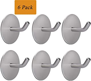 KoHuiJoo Self Adhesive Hooks, Adhesive Wall Hooks Heavy Duty, Removable Sticky Hanging Wall Hangers and Hooks for Robe Towel Home Office Kitchen Bedroom (Round 6 Pack)