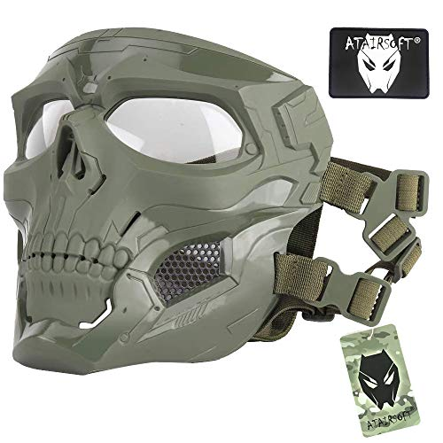 ATAIRSOFT Tactical Protective Adjustable Skull Full Face Mask for Airsoft Paintball Cosplay Costume Party Hockey(OD)