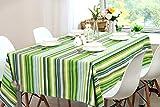 MJK Manteles, mantel de estilo europeo, mantel de papel pintado a rayas verde fresco, mantel de mesa de escritorio, hermoso tapete de mesa de café inodoro,El 120 * 120cm,Verde