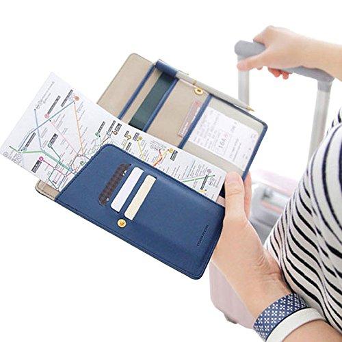EQLEF® Multi-purpose Rfid Blocco raccoglitore del passaporto del supporto dell'organizzatore Usa come Portafoglio di viaggio o portafoglio Hidden - proteggere i vostri soldi, passaporto