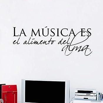La música española es la comida del alma Vinilo Pegatinas de pared para bricolaje Decoración del hogar Salón Dormitorio Vinilos decorativos Arte Murales Tamaño: 66 cm x 25 cm —bdpq: Amazon.es: Bricolaje