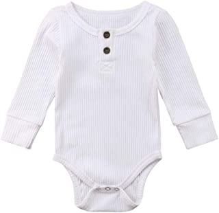 Yousity Baby Boys Girls Romper Cotton Solid Jumpsuit Long Sleeve Bodysuits Toddler Newborn Infant Cute Onesie Outfits