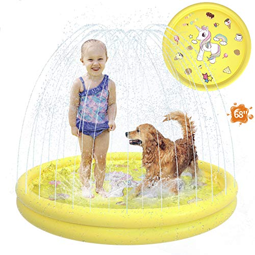 Antetek Splash Pad Sprinkler for Kids Outdoor, Newest 68' Water Toys for Kids Backyard Inflatable Baby Wading Pool for Toddlers & Baby Pool 3-in-1, Children's Splash Play Mat for Boys and Girls