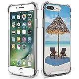 guchaolu Compatible con iPhone 7 Plus (7+) iPhone 8 Plus (8+) modelo de funda de teléfono con playa, tumbonas de madera frente al océano oriental bajo un paraguas de paja