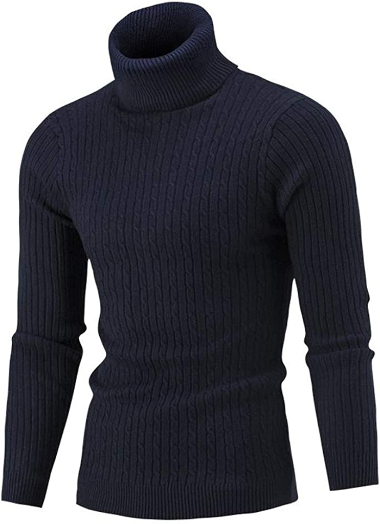 LIUguoo Men's Slim Fit Turtleneck Sweater Casual Solid Color Twisted Knitted Pullover Sweaters