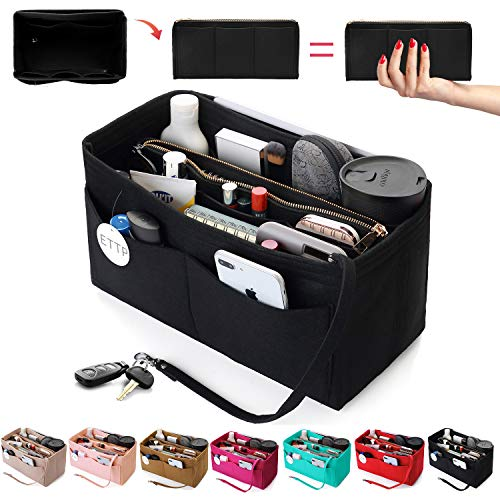 Purse Organizer Insert, Felt Tote Organizer Insert With Metal Zipper, Handbag Organizer For Speedy, Neverfull, Tote, Handbag, 7 Colors 5 Sizes (Medium, Black)