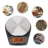 Les-Theresa Báscula de Cocina Digital de Acero Inoxidable portátil Báscula electrónica de café para Alimentos domésticos Adecuada para la Cocina del hogar