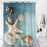 ikasus Duschvorhang mit Blau Strand Muscheln Seesternen,Waschbar Anti-Schimmel Textil Duschvorhäng 180x180,viele schöne Shower Curtain Vorhang zur Auswahl,Wohnkultur Badezimmer