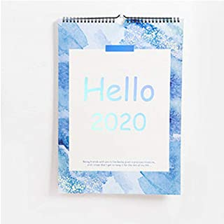 2020 Year Blue and Pink Laser Series Desk Calendar DIY A3 Large Wall Calendars Daily Schedule Planner 2019.09-2020.12 (Color : Blue)