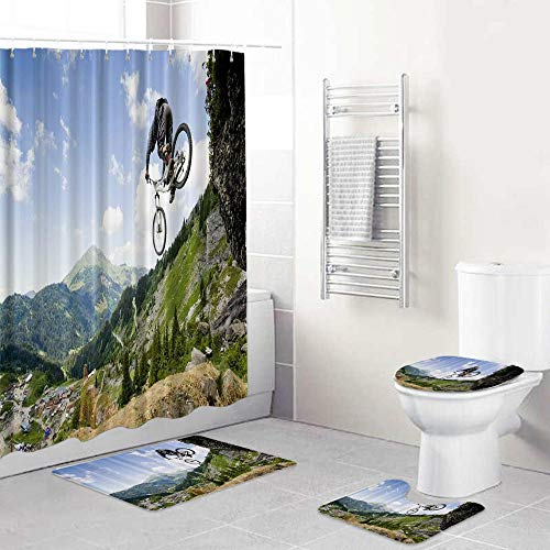 LOSUMIGE Shower Curtain Sets with Non-Slip Rugs,Toilet Lid Cover and Bath Mat,Jumping from Rock Mountain Bike Jump Fall Bicycle Waterproof Bath Curtains Hooks Included