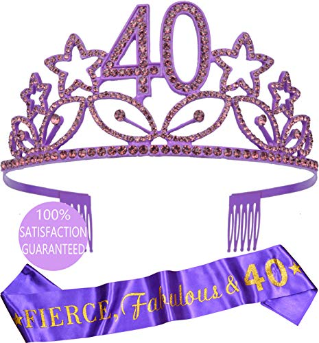 40th Birthday Gifts for Woman, 40th Birthday Tiara and Sash Purple, Happy 40th Birthday Party Supplies, 40 & Fabulous Glitter Satin Sash and Crystal Tiara Birthday Crown for 40th Birthday Party Suppl