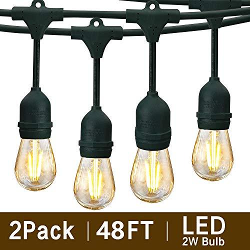 Svater 2 Pack S14 LED String Lights 48Ft Waterproof IP65 Commercial Grade Outdoor String Light UL...