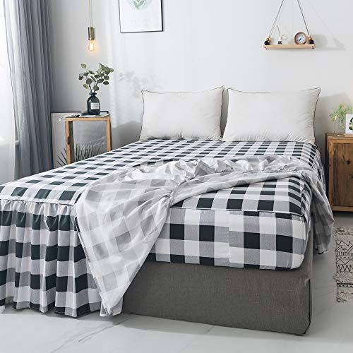 Gingham Buffalo Check Bedskirt/Bedspread Mattress Protector Twin Extra Long 1800 Ultra-Soft Brushed Microfiber 16' Deep Pocket Bedsheet 2 Pack, Black and White, Twin XL