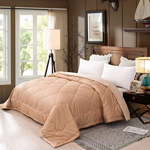 LEISURELY COLLECTION Comforter Wadded Bed Quilt 100% Natural Colored Plant-Based Cotton Comforter with for Free Cover Ultra-Soft 800TC Breathable Cooling Non Chemicals 3rd Generation (Twin Size)