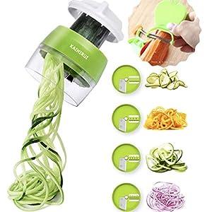 KAIMIRUI Cortador de Verduras Picadora Manual Cortador de Verdura 4 en 1 Rallador Calabacin Pasta Espiralizador Vegetal Veggetti Slicer, Espaguetis de Calabacin, Cortador Espiral Manual,Pelador