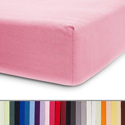 Lumaland Comfort Jersey Spannbettlaken 100% Baumwolle mit Rundum-Gummizug 160g/m² 140 x 200 cm - 160 x 200 cm Rosa
