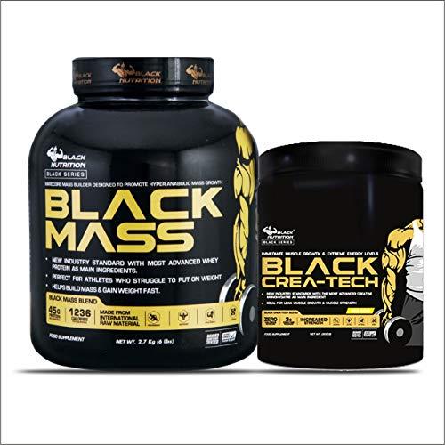 Black Nutrition BLACK MASS 6lbs (2724GM) + CREA-TECH (100 Servings 300gm) - ORANGE flavoured Creatine (CHOCOLATE)