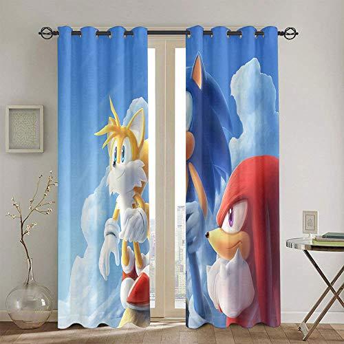 Sonic The Hedgehog - Cortinas decorativas de eficiencia energética para dormitorio, 132 x 213 cm