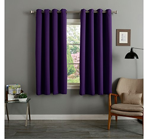 Hachette Thermal Blackout Curtains Eyelet Ring Top Including Pair of Tiebacks (Aubergine Purple, 46' X 72')