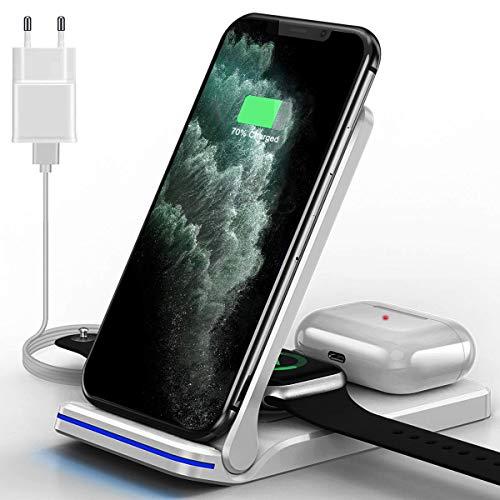 Wireless Charger, 15W Fast Induktive ladestation, 3 in 1 Qi-Zertifiziert Kabelloses Ladegerät für iPhone 12/11/11pro/X/XS/XR/X/8 Plus, Samsung, Air Pods Pro/2 und iWatch Series (Weiß)