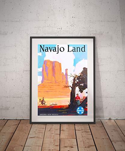 Rac76yd Arizona Nuevo México Navajo Land Arizona Póster de viaje Nuevo México Impresión Navajo Land Póster de Viaje Decoración de Pared