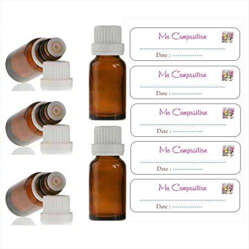Lot de 5 Flacons Bruns vides pour huiles essentielles 10ml avec Bouchons codigouttes + 5 étiquettes Ma Composition