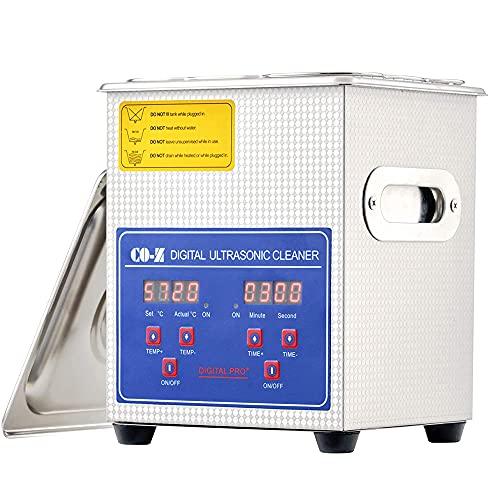 MMOBIEL Limpiador ultrasónico profesional Máquina limpiadora de joyas digital con calor y temporizador ajustable de 0 a 30 minutos para joyas gafas herramientas dentales de laboratorio-Capacidad 1,3L