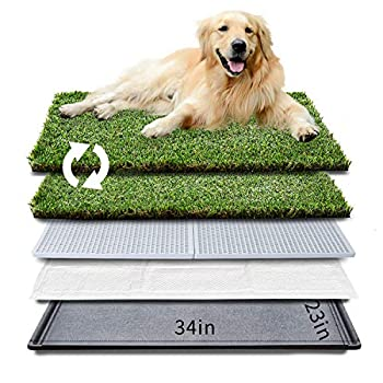 """HQ4us Dog Grass pad with Tray Large Dog Litter Box Toilet 34""""×23"""" 2×Artificial Grass for Dogs ,Pee pad Realistic Bite Resistance Turf Less Stink Potty for Balcony,"""